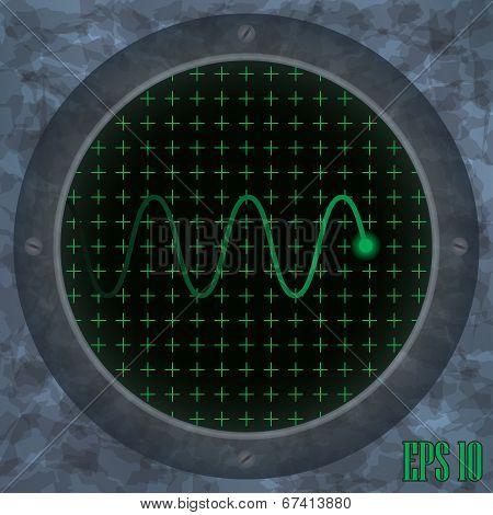 Oscilloscope screen with green wavy trace.