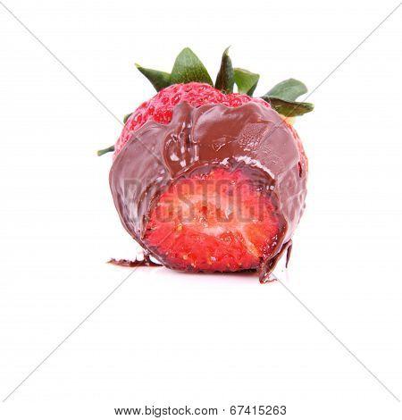 Half of Chocolate covered strawberry