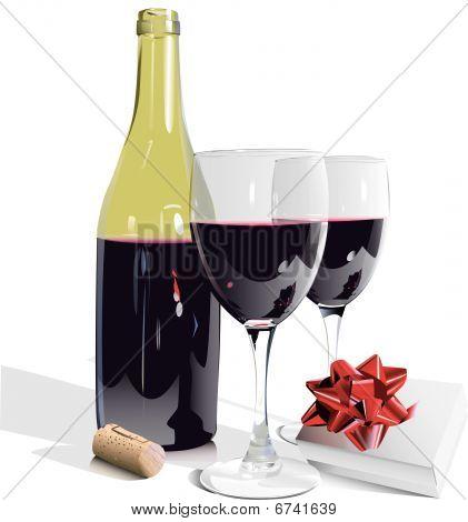 Wine Bottle, Glasses and Gift-eps