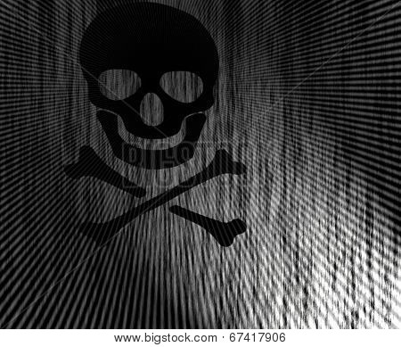 Black skull and crossbones silhouette symbol on striped black background with floodlighting. poster