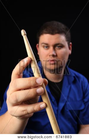 Man With Drumstick Left
