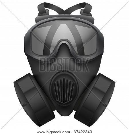 Military black gasmask respirator. Isolated on white background. Bitmap copy.