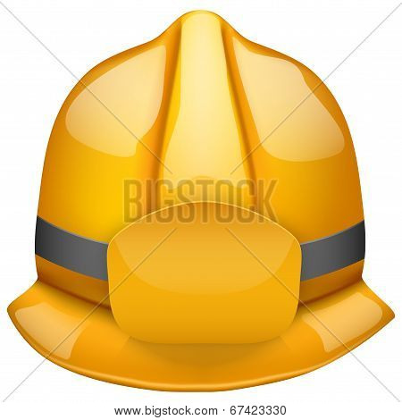 Gold fireman helmet. Isolated on white background. Bitmap copy.