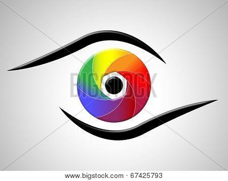 Eye Aperture Shows Colour Splash And Chromatic