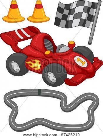 Illustration Featuring Different Race Car Elements