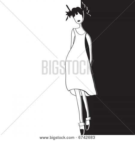 Black and white card with fashion model