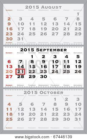 2015 september with red dating mark - current marked holiday is Day of Peace - vector illustration poster