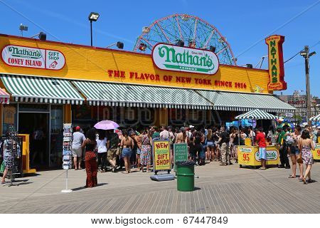 The Nathan s restaurant on boardwalk  at Coney Island, New York