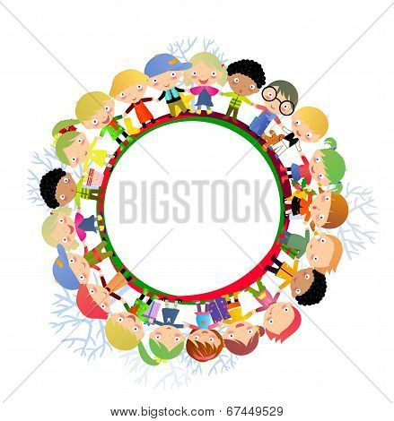 Vector illustration of group of cute kids in a circle