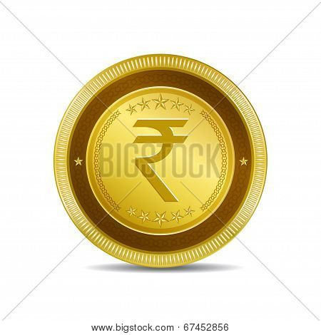 Rupee Currency Sign Circular Vector Gold Web Icon Button poster