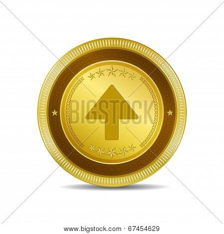 Up Key Circular Vector Gold Web Icon Button
