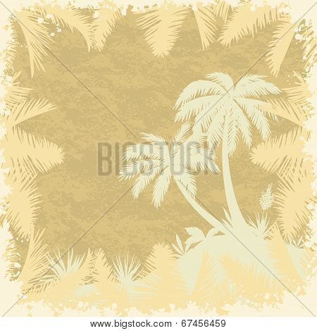 Tropical palms trees and leaves silhouettes