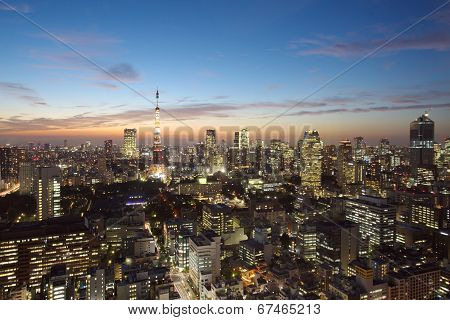 Skyline of Tokyo, Japan at Tokyo Tower