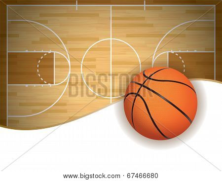 Basketball Court And Ball Background