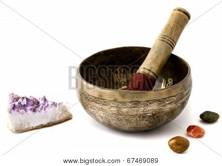 Tibetian singing bowl isolated on white