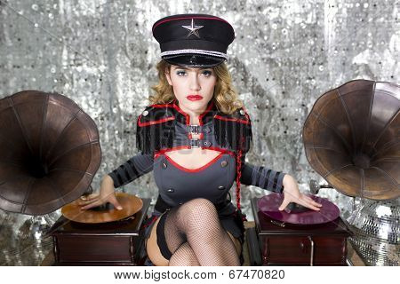 Beautiful Military Disco Dj With Gramophones