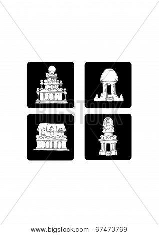 India flat icon set 2 - Gray
