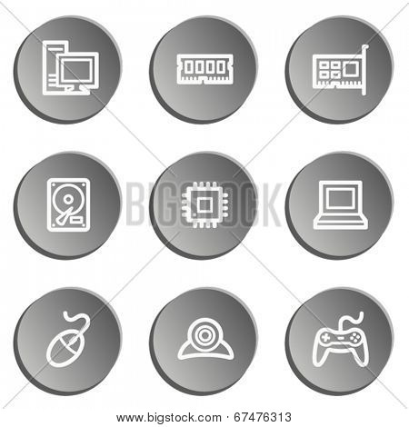 Computer web icons, grey stickers set