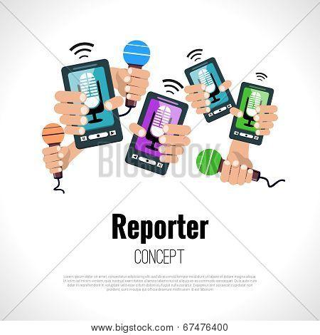 Journalist press conference media broadcasting reporter concept vector illustration poster