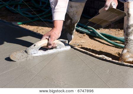 Finishing Concrete Sidewalk