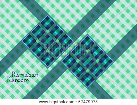 Vector of Hari Raya Ketupat for Muslim celebration. Translation: Ramadan Kareem - May Generosity Bless You During The Holy Month