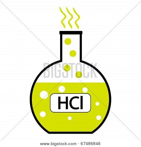 Laboratory glass with hydrochloric acid on white background. Vector illustration. poster