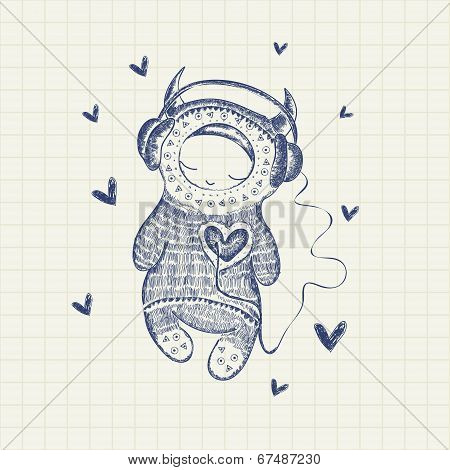 Sketch hand drawn vector illustration of a monster with headphones listening to his heart on a background a sheet of notebook poster
