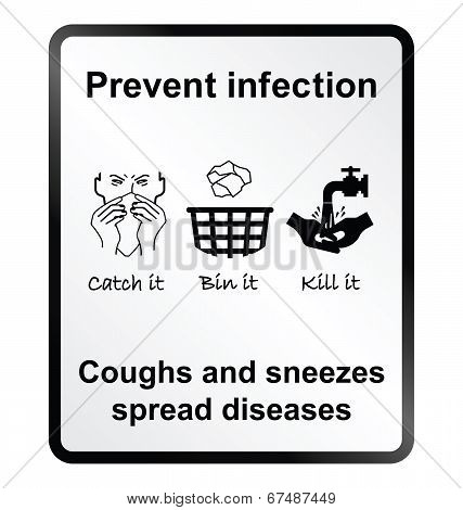 Prevent infection public health information sign isolated on white background poster