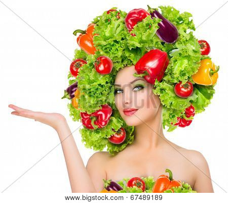 Beauty girl with Vegetables hair style. Beautiful happy young woman with vegetables on her head. Healthy food concept, diet, vegetarian food. Dieting concept. Weight loss. Vegan food. Healthy eating poster