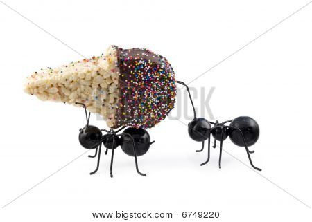 Ants Carrying Cereal Ice Cream Cone