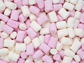 Pink and white mini marshmallows abstract background texture poster