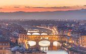Arno River, Ponte Vecchio, Boboli gardens, Bardini garden and Belvedere at sunset Florence poster