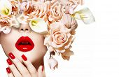 Fashion Sexy Woman with flowers. Vogue style Model girl face with roses. Red Sexy Lips and Nails closeup. Manicure and Makeup. Make up. Beauty lady face isolated on white background. Perfect skin  poster