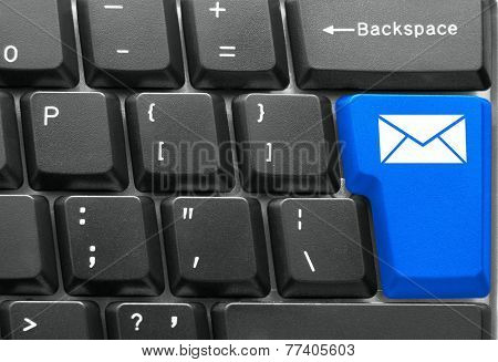 Close-up of Computer keyboard,  with blue Mail key