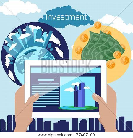 Flat design concept with hand holding digital tablet with advertising website of building project for real estate investment and property investment poster