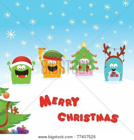 Monsters Christmas Card