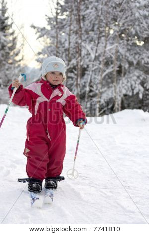Toddler skiing