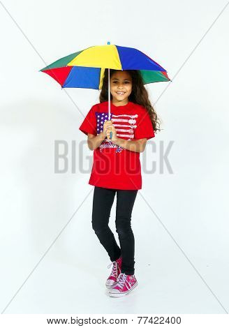 Smiling American Girl With Unbrella