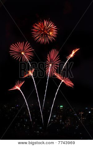 fireworks show on water in bangkok, Thailand