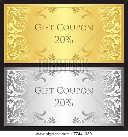 Gold And Silver Gift Coupon With Damask Ornament