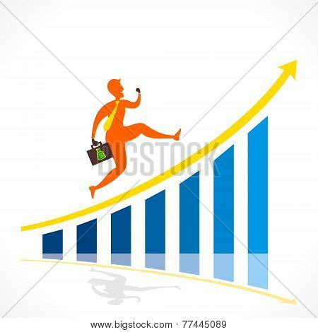 businessmen run over growth graph concept