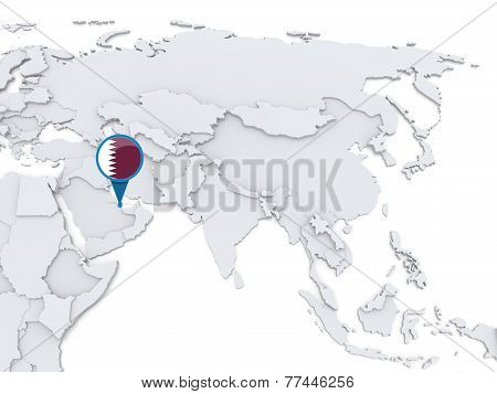 Qatar On A Map Of Asia