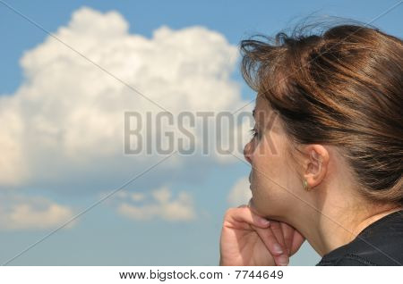 Head In Sky - Dreaming Young Woman