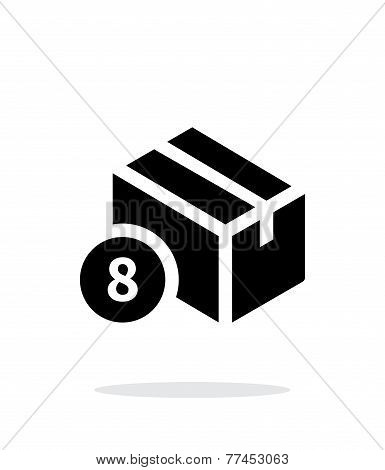 Box with number simple icon on white background.