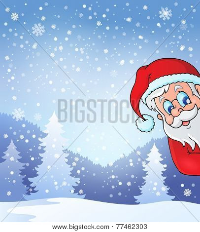 Theme with lurking Santa Claus - eps10 vector illustration.