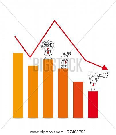 The stock market crash. Two businessmen and a businesswoman are very disappointed.This diagram illustrates the crash of the stock market