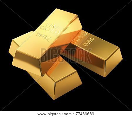Gold bars isolated on black