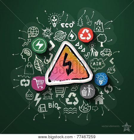 Eco energy collage with icons on blackboard