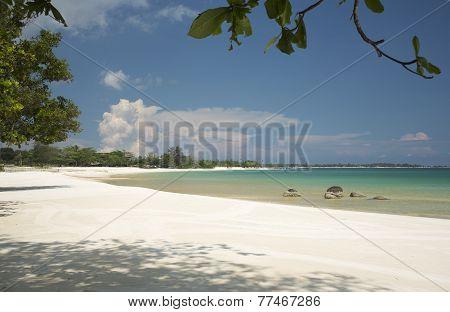 Tropical landscape, sea and sandy beach, idyllic view