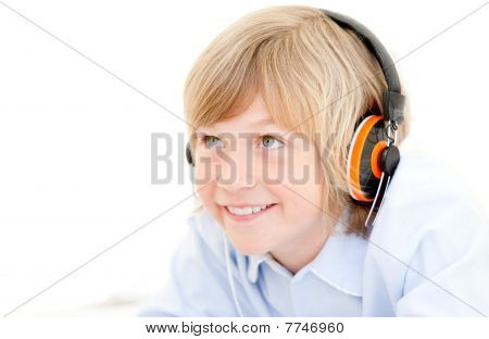 Portrait Of A Cute Boy Listenning Music